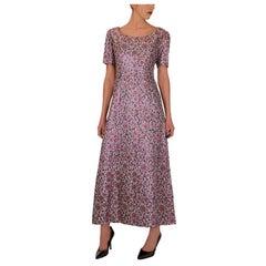 Metallic Pink Brocade 1960s Evening Dress