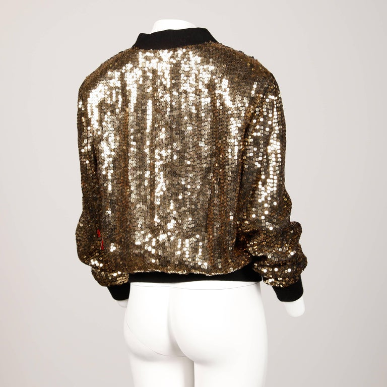Metallic Sequin Vintage Bomber Jacket In New Condition For Sale In Sparks, NV