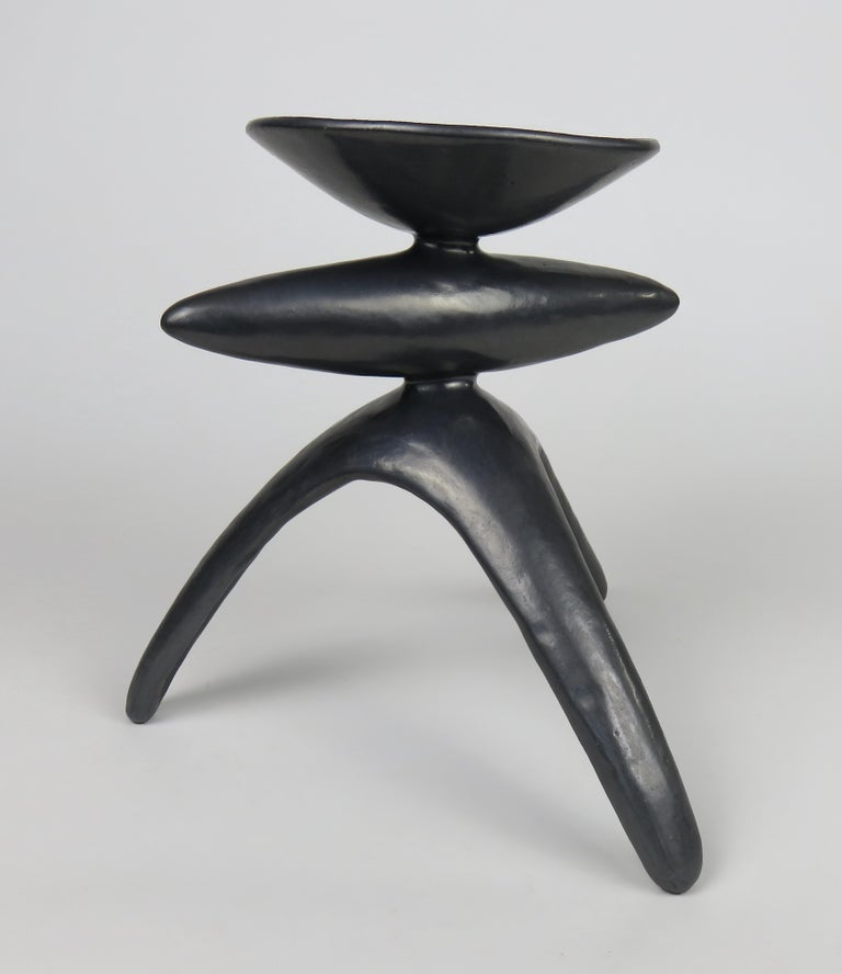 American Metallic Silver-Black Ceramic TOTEM, Chalice Top on Long Tripod Legs, Hand Built For Sale