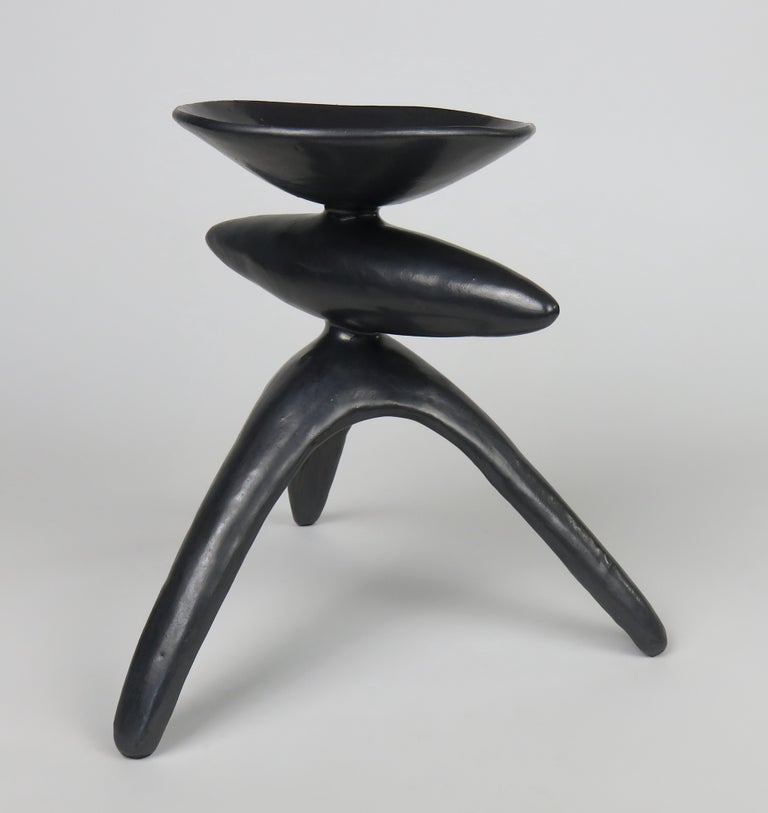 Metallic Silver-Black Ceramic TOTEM, Chalice Top on Long Tripod Legs, Hand Built In New Condition For Sale In New York, NY
