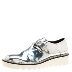 05d39021145a Metallic Silver Faux Leather Odette Studded Monk Strap Flats Size 40. Stella  McCartney ...