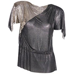 Metallic Vintage 80s Gianni Versace Mesh Top