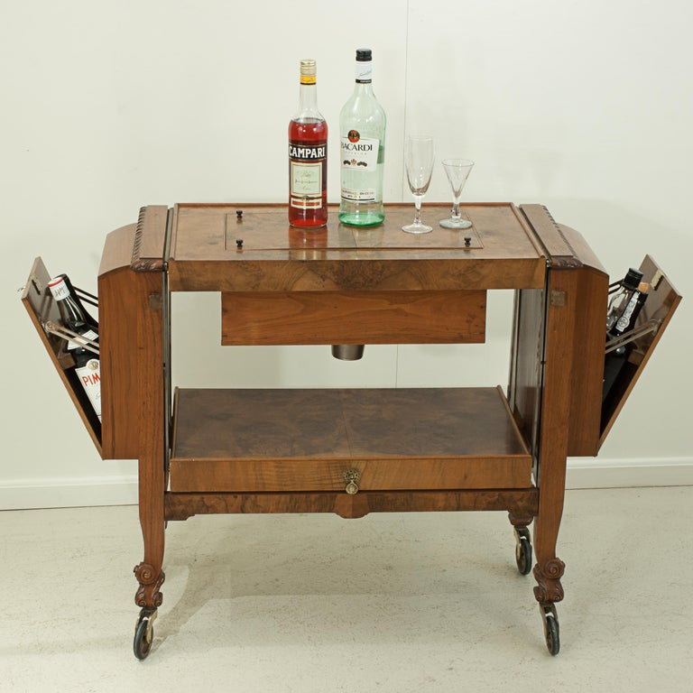 Metamorphic Drinks Table or Trolley, Cocktail Cabinet in Walnut For Sale 7