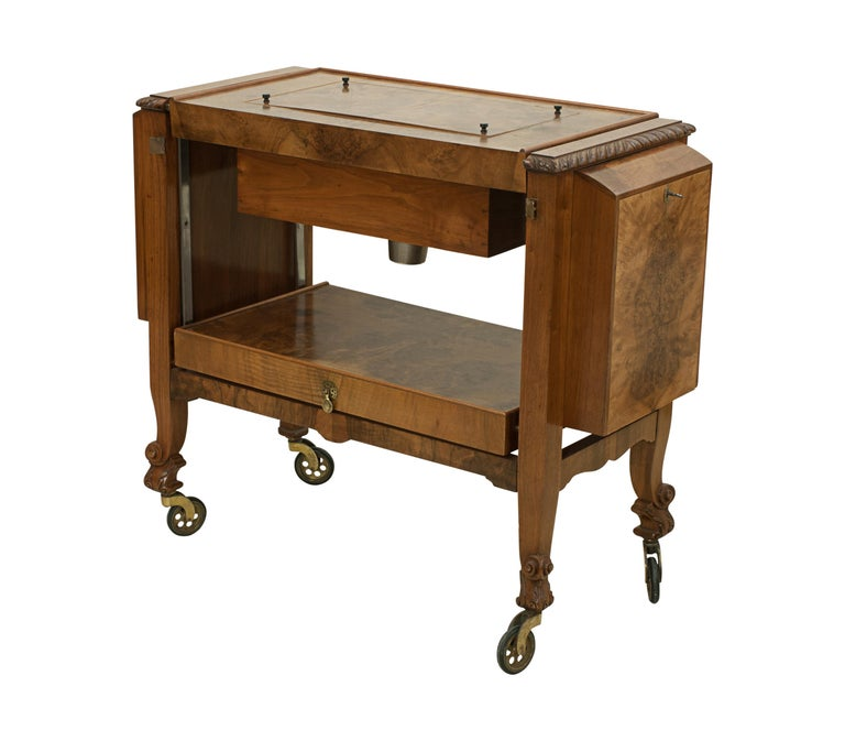 Art Deco Metamorphic Drinks Table or Trolley, Cocktail Cabinet in Walnut For Sale
