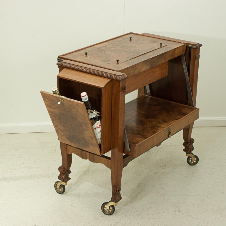 English Metamorphic Drinks Table or Trolley, Cocktail Cabinet in Walnut For Sale