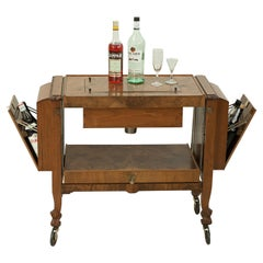 Metamorphic Drinks Table or Trolley, Cocktail Cabinet in Walnut