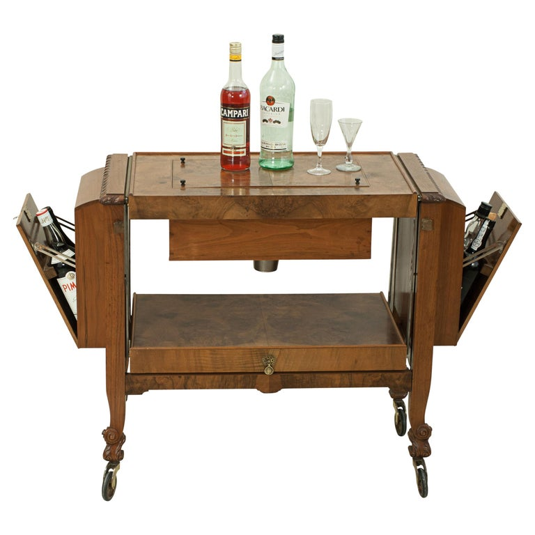 Metamorphic Drinks Table or Trolley, Cocktail Cabinet in Walnut For Sale