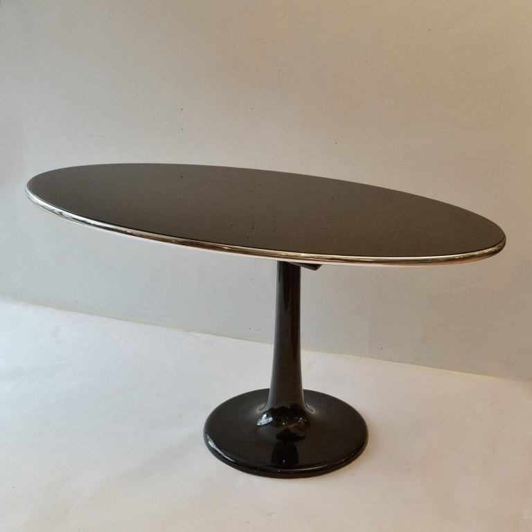 Mid-Century Modern Metamorphic Oval Black Glass Table Transforms to Full Length Oval Vanity Mirror For Sale