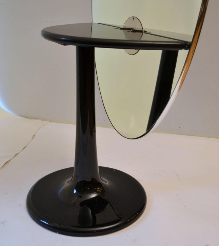 Metamorphic Oval Black Glass Table Transforms to Full Length Oval Vanity Mirror For Sale 1