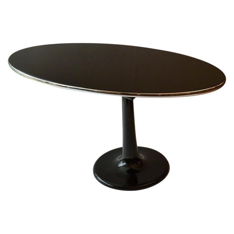 Metamorphic Oval Black Glass Table Transforms to Full Length Oval Vanity Mirror For Sale