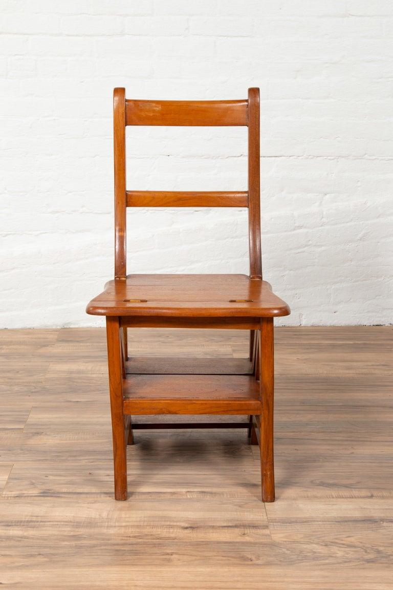 Metamorphic Vintage Dutch Colonial Teak Wood Step Ladder