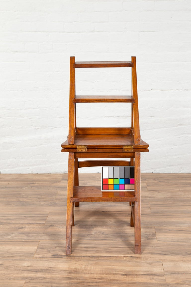 Metamorphic Vintage Dutch Colonial Teak Wood Step Ladder