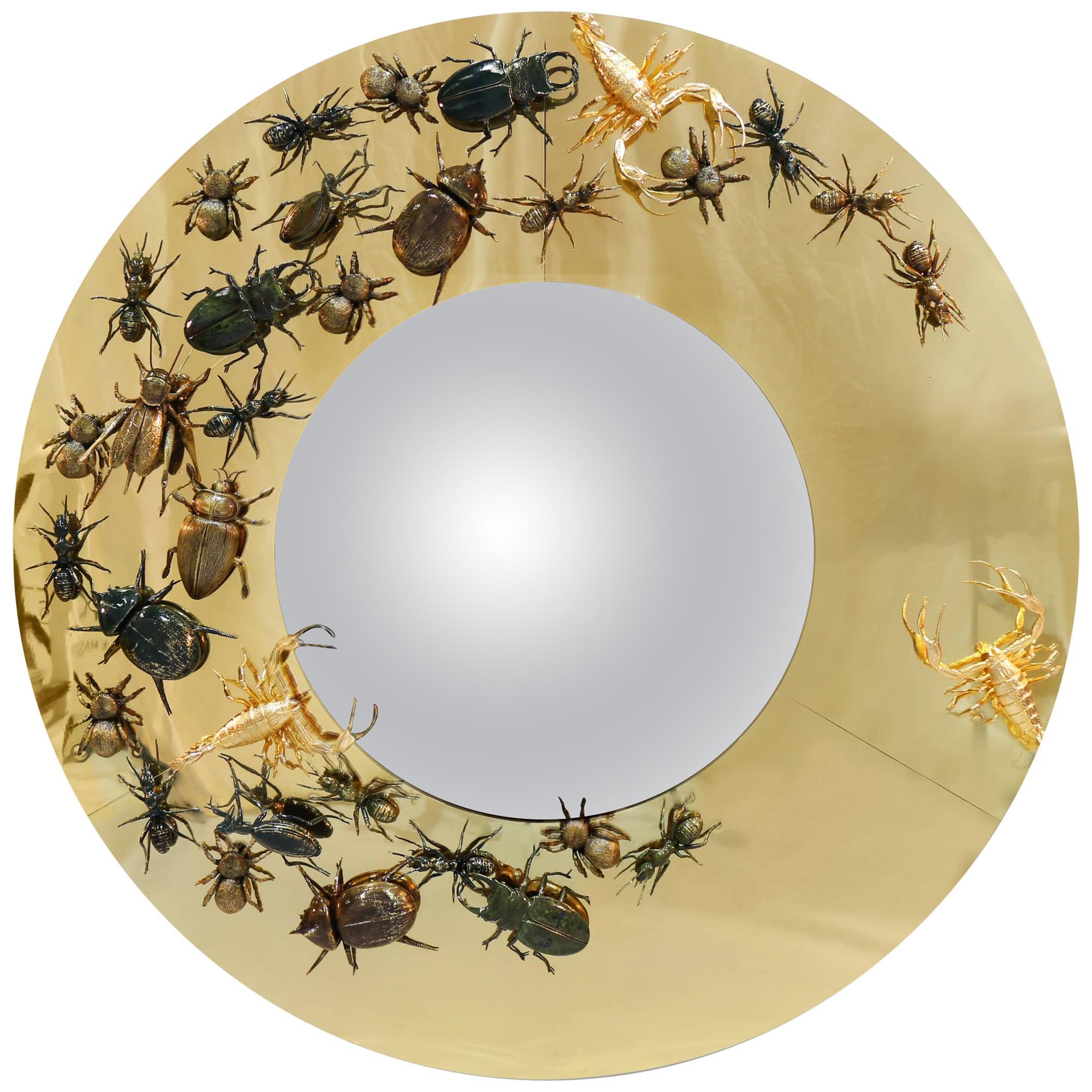 Metamorphosis Convex Mirror in Polished Brass