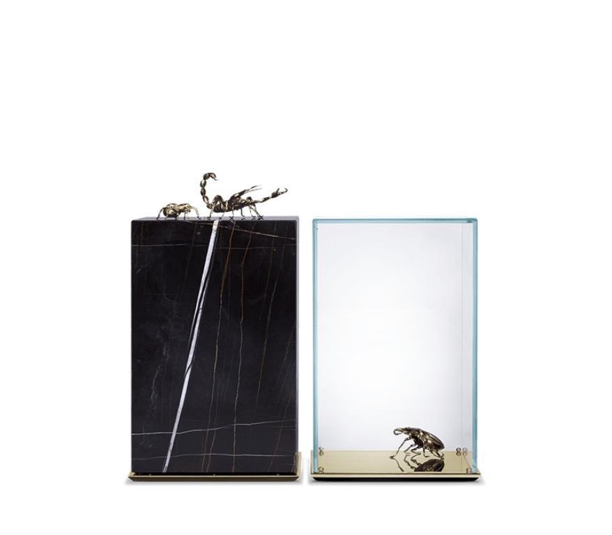 Metamorphosis Side Table in Black Marble by Boca do Lobo