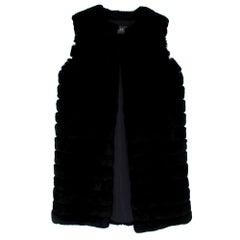 Meteo by Yves Salomon Black Long Rabbit Fur Gilet - Size 38