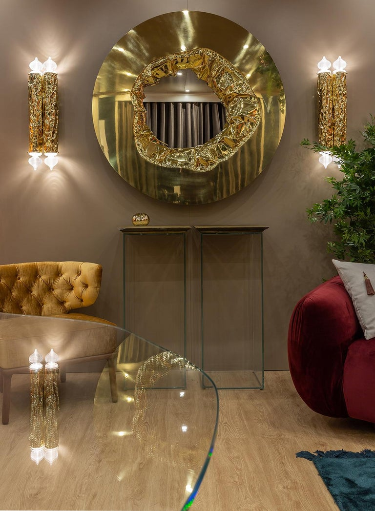 Modern 21st Century Meteor Gold Mirror, Polished Hammered Brass and Walnut Root Veneer For Sale