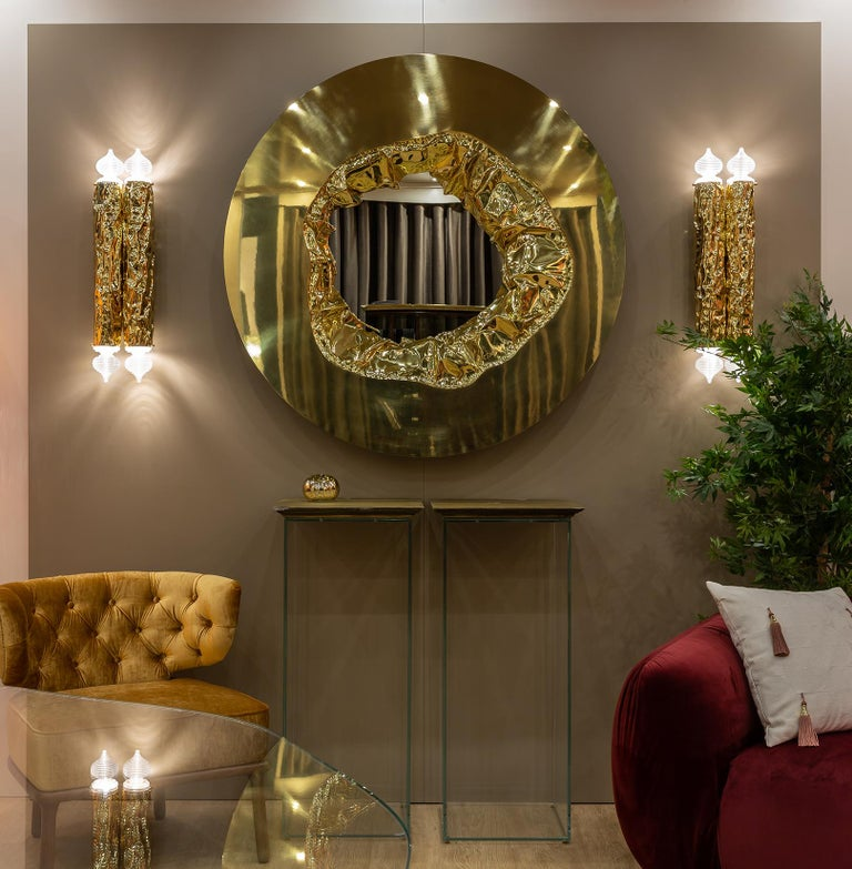 Portuguese 21st Century Meteor Gold Mirror, Polished Hammered Brass and Walnut Root Veneer For Sale