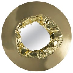 21st Century Meteor Gold Mirror, Polished Hammered Brass and Walnut Root Veneer
