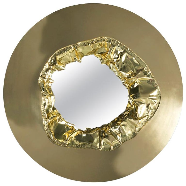 21st Century Meteor Gold Mirror, Polished Hammered Brass and Walnut Root Veneer For Sale