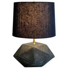 'Meteor' Textured Black Ceramic Table Lamp