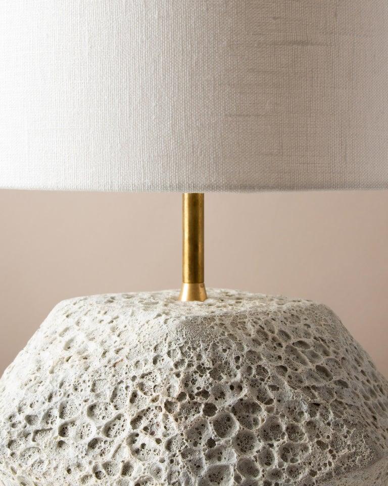 Modern 'Meteor' Textured White Ceramic Table Lamp For Sale