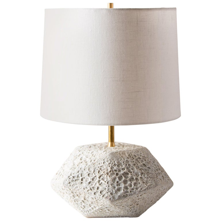 'Meteor' Textured White Ceramic Table Lamp For Sale