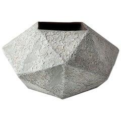 'Meteor' White Ceramic Vessel with Textured Glaze