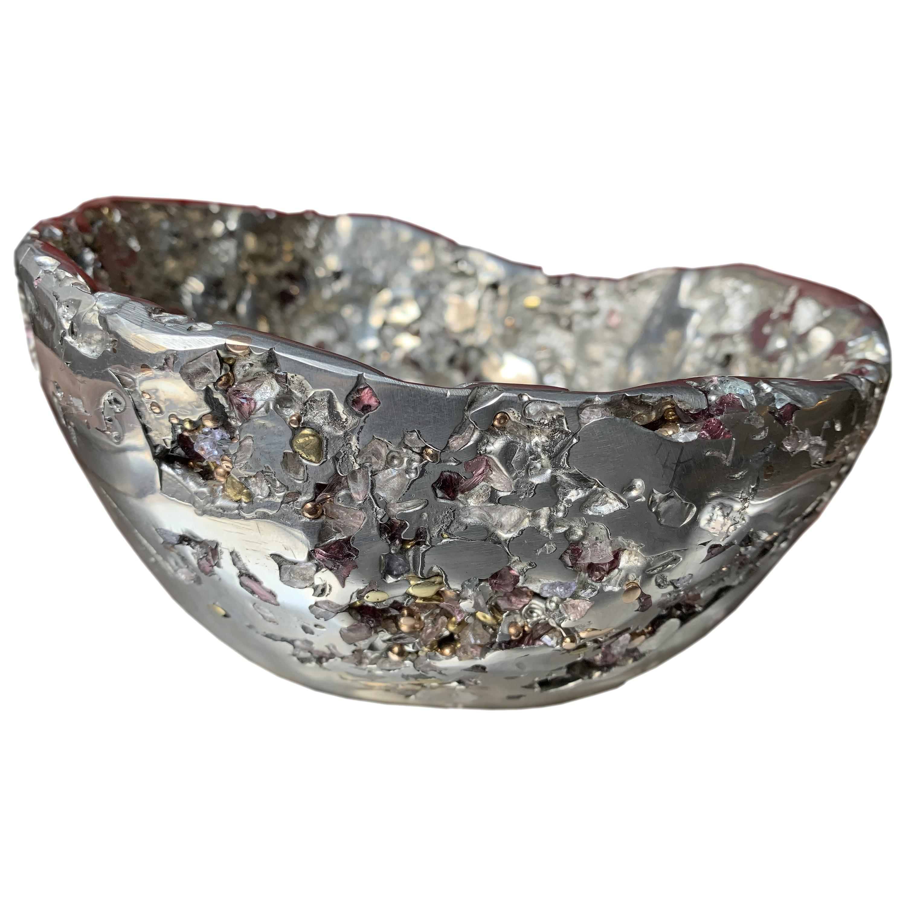 """""""Meteorite Bowl XLA 6"""", Melted Pewter, Bronze and Brass Grains, Murano Glass"""