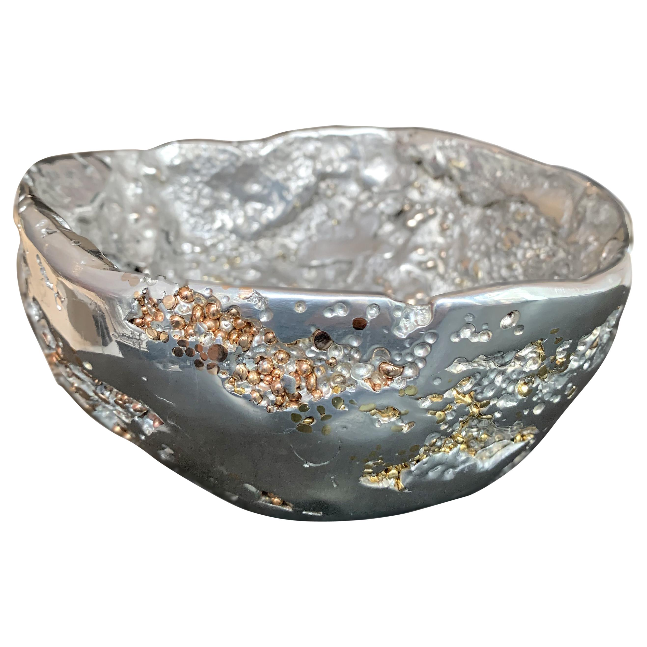 """""""Meteorite bowl XLA 8"""", Melted Pewter, Bronze and Brass Grains"""