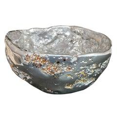 """Meteorite bowl XLA 8"". Melted Pewter, bronze & brass grains"
