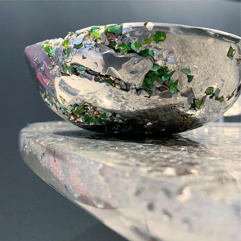 """In stock. This contemporary decorative bowl is a unique piece, created by Xavier Lavergne and made of melted pewter with Venice Murano glass. It seems like a Meteorite discovered in Irland. Handmade in France and sold with its """"Certificate of"""