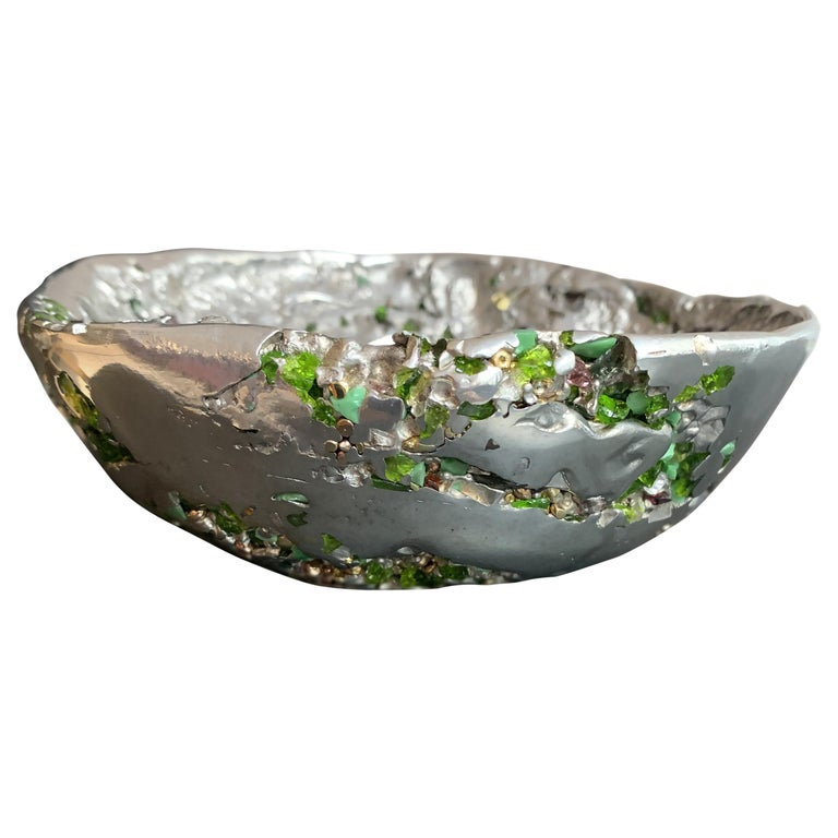 """""""Meteorite bowl XLA7"""", Melted Pewter and Venice Murano Glass For Sale"""