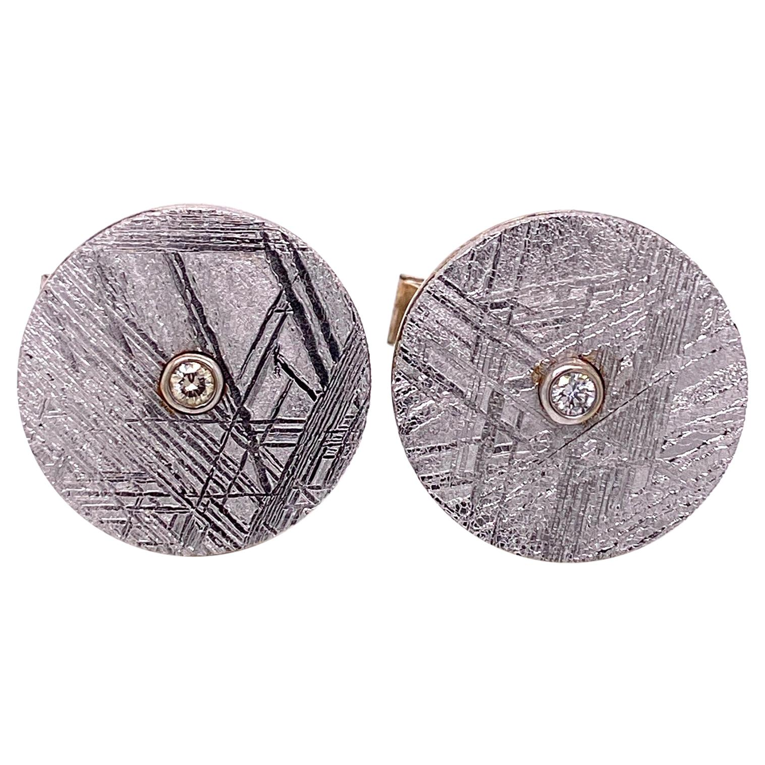 Meteorite Circle Cufflinks with White Diamonds