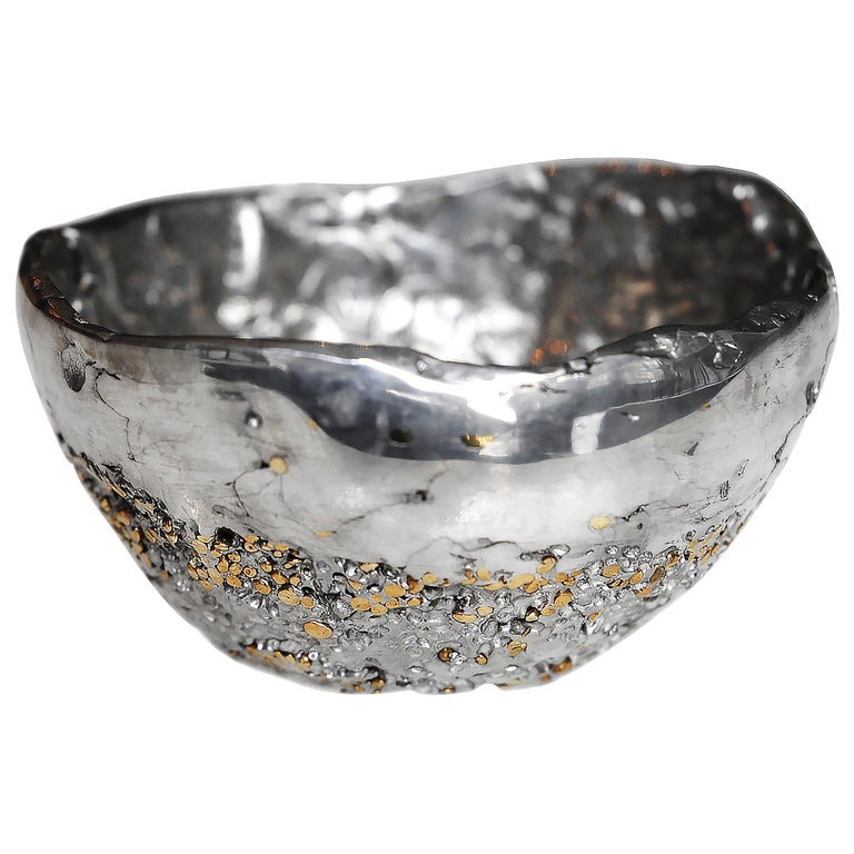 """""""Meteorite cup XLA2"""", Melted Pewter and Brass Grains"""