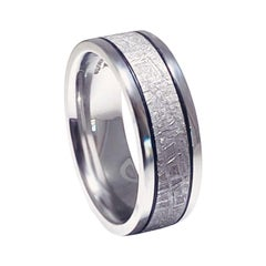 Meteorite Distressed Men's Custom Wedding Band, Cobalt Chrome Man's Wedding Band