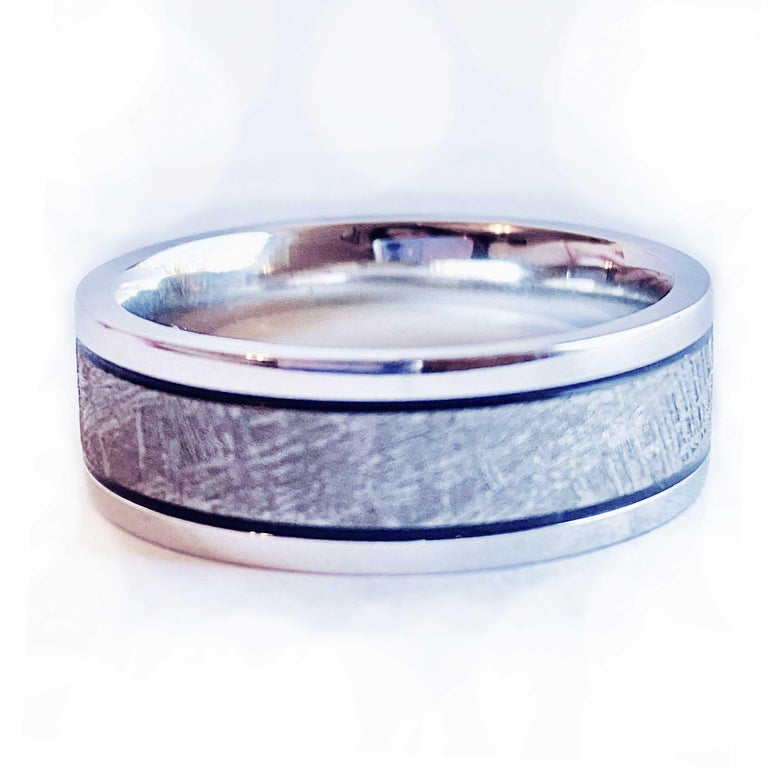 Modern Meteorite Distressed Men's Custom Wedding Band, Cobalt Chrome Man's Wedding Band For Sale