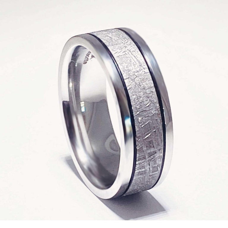 Meteorite Distressed Men's Custom Wedding Band, Cobalt Chrome Man's Wedding Band In New Condition For Sale In Austin, TX