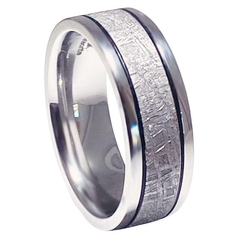 Meteorite Distressed Men's Custom Wedding Band, Cobalt Chrome Man's Wedding Band For Sale