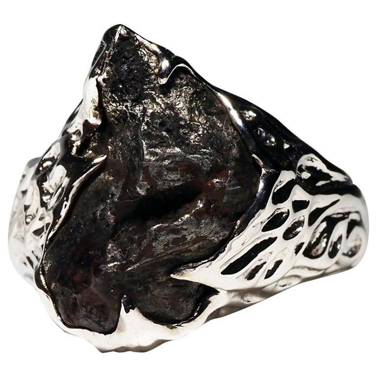 Meteorite Gold Ring Black Statement 14 Karat Gold Men's Unisex Ring Jewelry For Sale