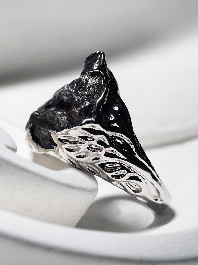 Meteorite Gold Ring Black Statement 14 Karat Gold Men's Unisex Ring Jewelry In New Condition For Sale In Berlin, DE