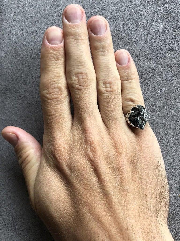 Meteorite Gold Ring Black Statement 14 Karat Gold Men's Unisex Ring Jewelry For Sale 2