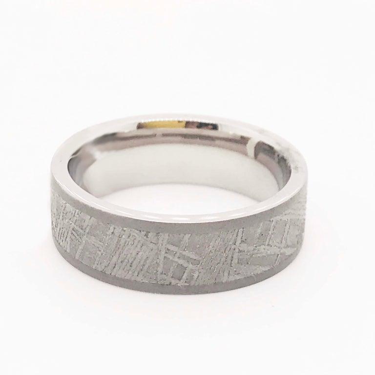 Modern Meteorite Titanium Men's Band, Distressed Finish Comfort Fit Wedding Ring, Band For Sale