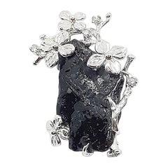 Meteorite with Diamond Brooch/Pendant Set in 18 Karat White Gold Settings