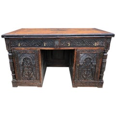 English Museum Quality 18th Century Highly Carved Walnut Desk with Parquetry Top