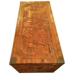 Meticulously Carved Antique Chinese Trunk
