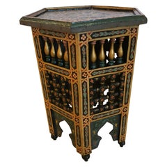 Meticulously Hand Painted Octagonal Moroccan Side Table in Red Green and Black