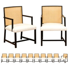 Meticulously Restored Set of 12 Cane Arm Dining Chairs by Michael Taylor, 1960