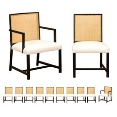 Meticulously Restored Set of 12 Cane Dining Chairs by Michael Taylor, circa 1960