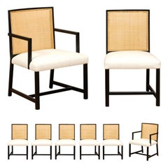 Meticulously Restored Set of 8 Cane Dining Chairs by Michael Taylor, circa 1960