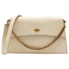 Metier White Roma Shoulder Bag in Smooth Calfskin 30cm